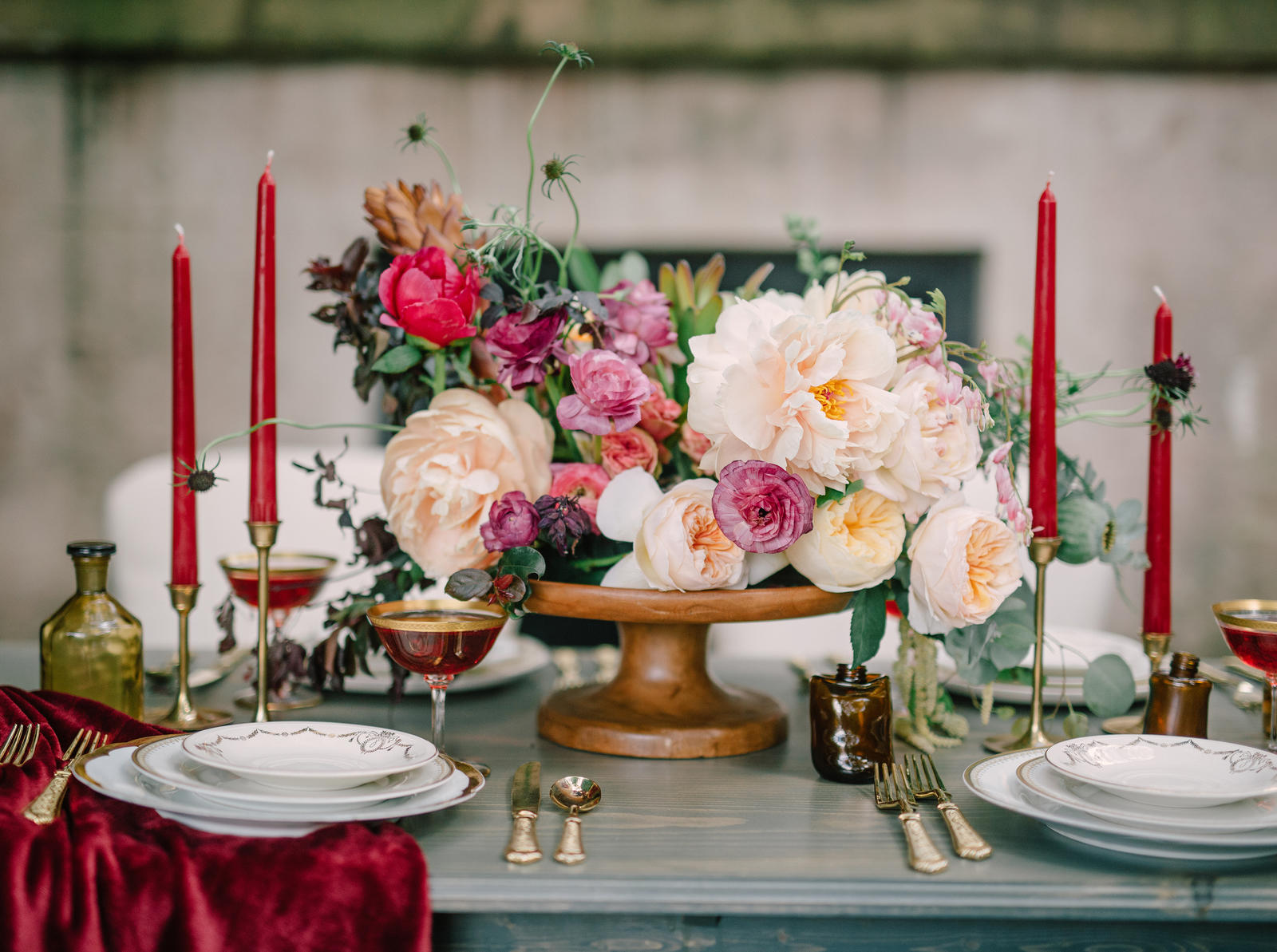 Editorial Photography | Atlanta, GA | A place setting with a floral arrangement on a pedestal as a centerpiece.