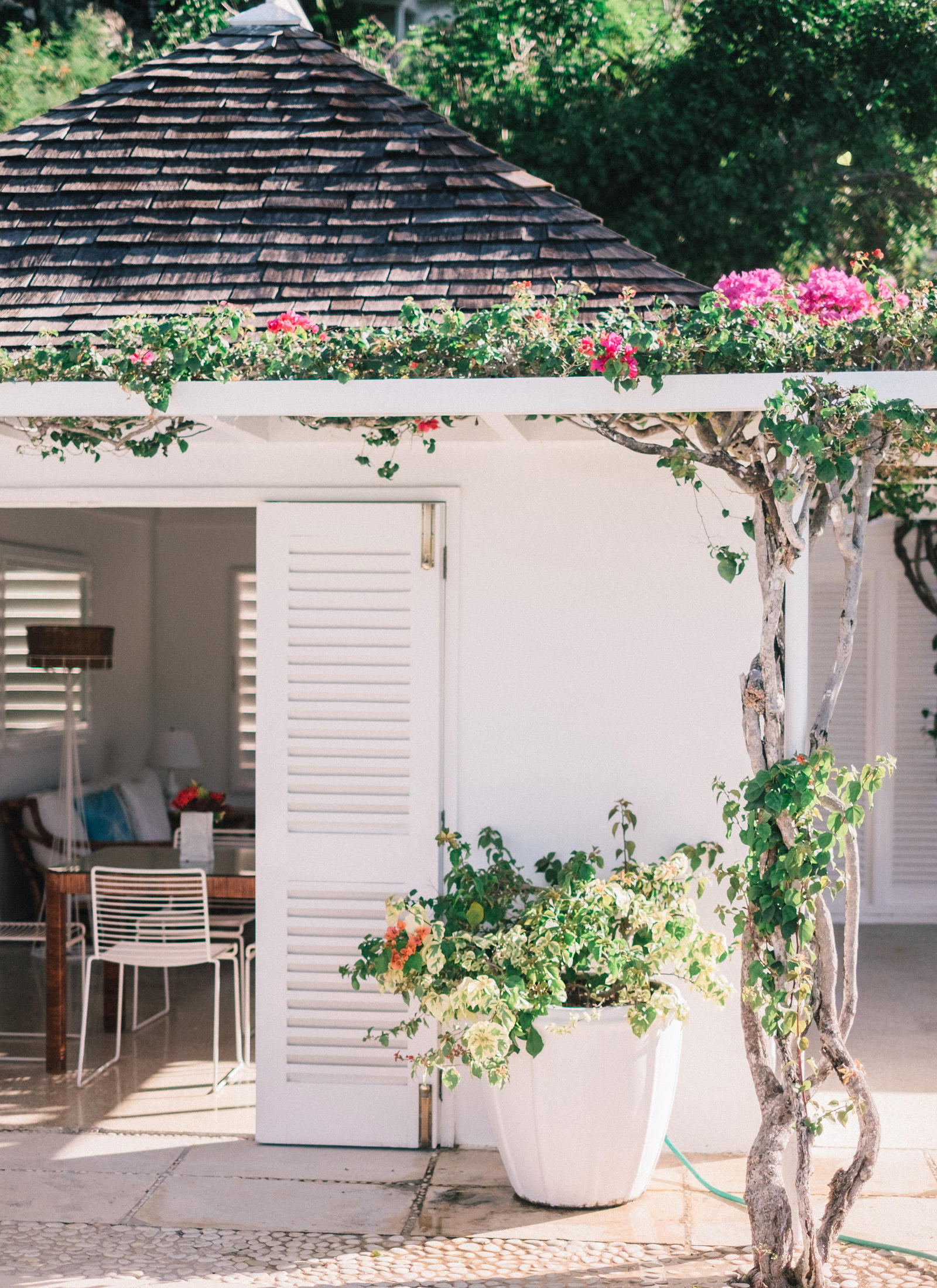 Lifestyle Photography | Atlanta, GA | A beach house behind a trellis with pink flowers.