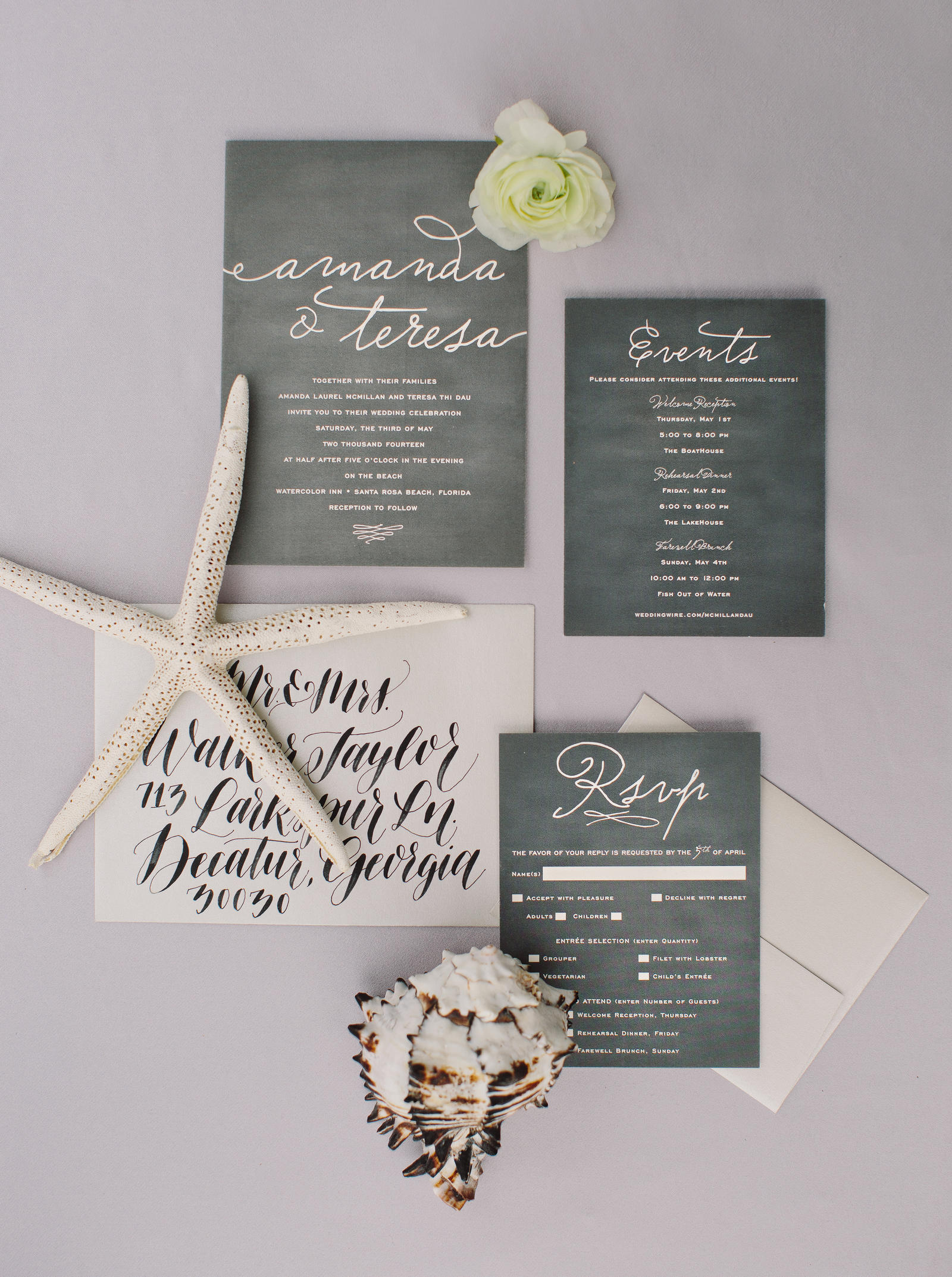 Wedding Photography | A picture of the wedding invitation set.