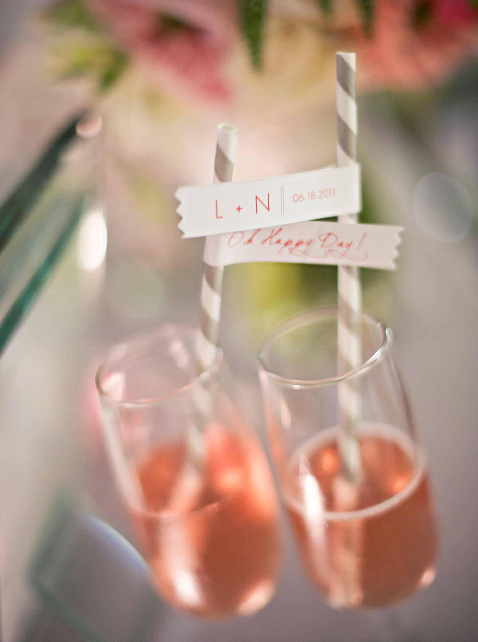 Wedding Photography | Two drinks with straws.