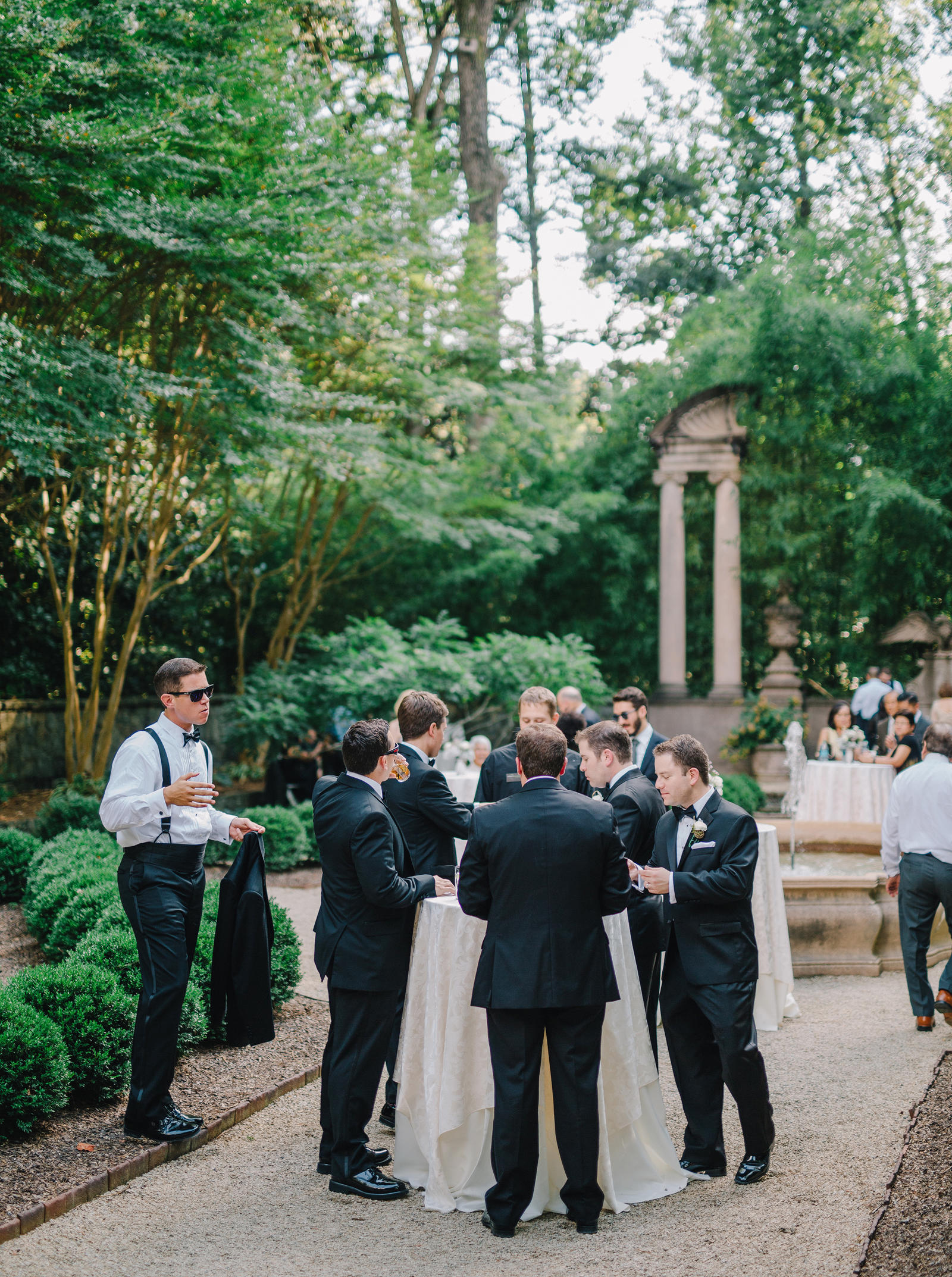 Wedding Photography | Groomsmen at an outdoor recption.