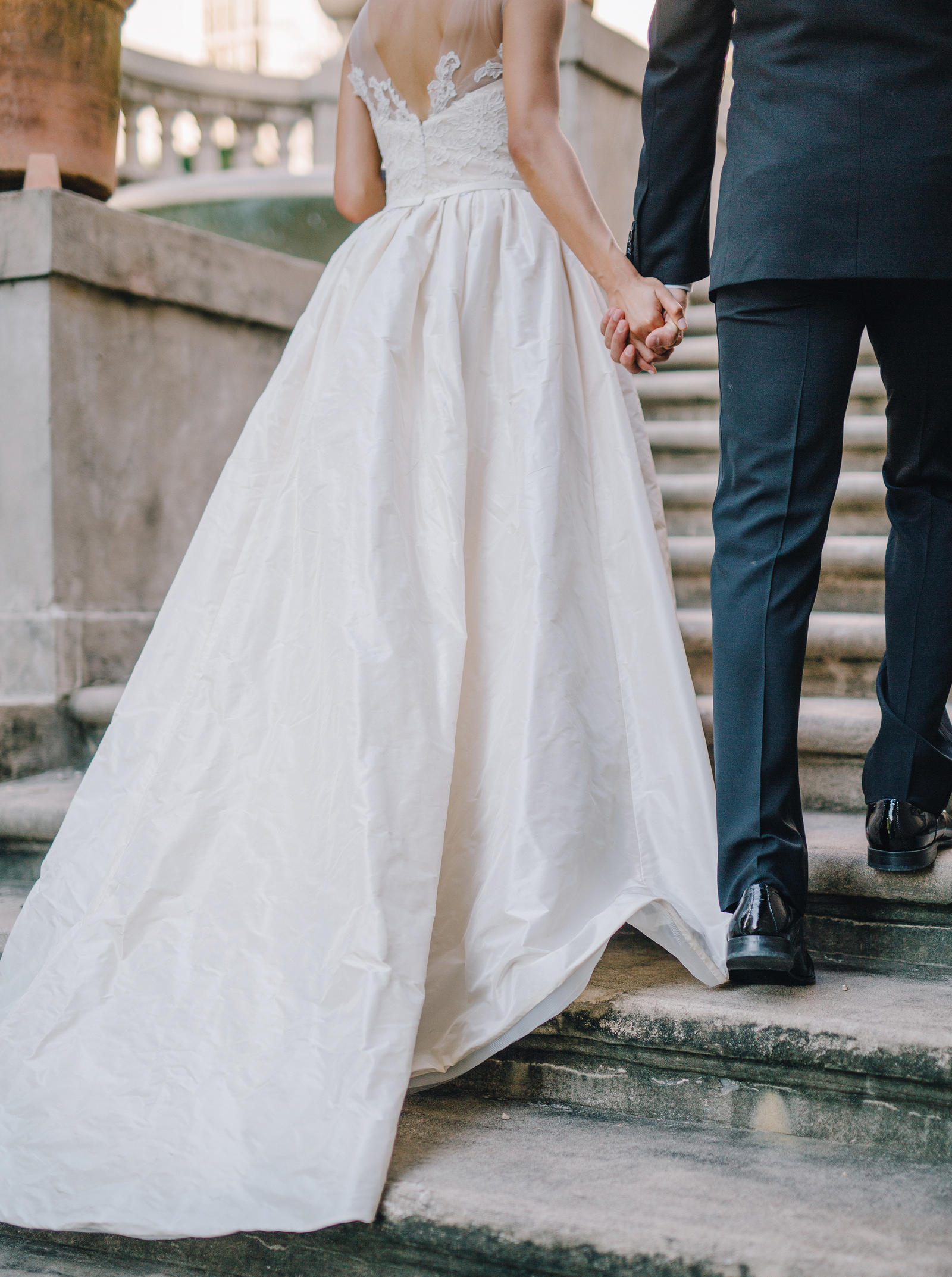 Wedding Photography | A view of the back of a wedding dress.
